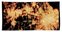 Shanghai From Space Hand Towel by Delphimages Photo Creations