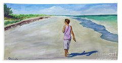 Hand Towel featuring the painting Shannon At Pink Sands by Patricia Piffath