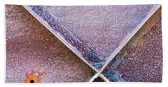 Bath Towel featuring the photograph Shapes And Textures On Bunker Door by Gary Slawsky