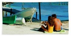 Sharing A Coconut On Caye Caulker, Belize Hand Towel