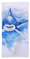 Shark Hand Towel by Edwin Alverio
