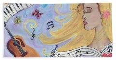 She Dreams In Music Hand Towel
