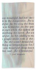 She Was Beautiful By F. Scott Fitzgerald 4 #painting #minimalism #poem Bath Towel