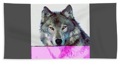 Hand Towel featuring the mixed media She Wolf by Charles Shoup
