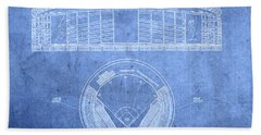 Shea Stadium New York Mets Baseball Field Blueprints Hand Towel
