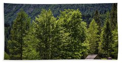 Hand Towel featuring the photograph Shed In The Slovenian Alps by Stuart Litoff