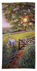 Sheep At Sunset Bath Towel