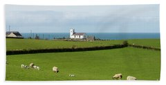 Bath Towel featuring the photograph Sheep Grazing On Irish Coastline by Juli Scalzi