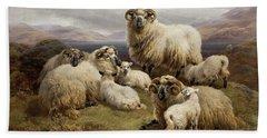 Sheep In A Highland Landscape Bath Towel