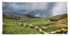 Sheep In Carphatian Mountains Bath Towel