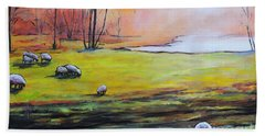 Sheep In Pasture Bath Towel