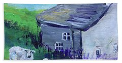 Bath Towel featuring the painting Sheep In Scotland  by Claire Bull