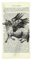 Sheep With Angel Wings Black And White  Bath Towel