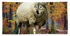 Bath Towel featuring the painting Sheep's Clothing by Harry Warrick