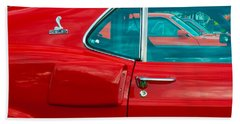 Red Shelby Mustang Side View Bath Towel