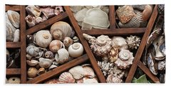Hand Towel featuring the photograph Shells And Sea Glass by Art Block Collections