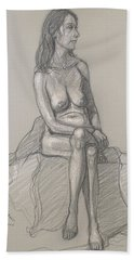 Shelly With Long Hair Bath Towel by Donelli  DiMaria