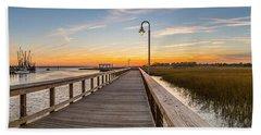 Shem Creek Pier Panoramic Hand Towel