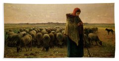 Shepherdess With Her Flock Hand Towel