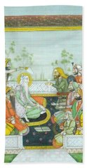 Sher A Punjab Sikh Maharaja Ranjit Singh Court Scene Miniature Painting Of India Watercolor Artwork Hand Towel