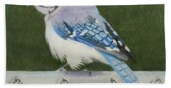 Bath Towel featuring the painting Sherrie's Bluejay by Constance DRESCHER