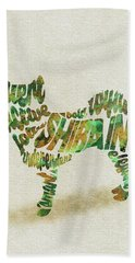 Hand Towel featuring the painting Shiba Inu Watercolor Painting / Typographic Art by Inspirowl Design