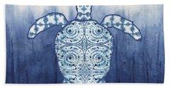 Shibori Blue 1 - Patterned Sea Turtle Over Indigo Ombre Wash Hand Towel