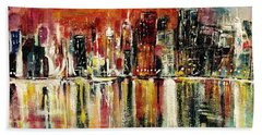 Bath Towel featuring the painting Shimmering City Night Lights by Belinda Low