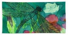 Shimmering Dragonfly W Sweetpeas Square Crop Bath Towel