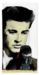 Bath Towel featuring the painting Shine On Youth  Ricky Nelson by Iconic Images Art Gallery David Pucciarelli