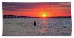 Shinnecock Fisherman At Sunset Bath Towel