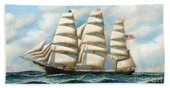 Ship Young America At Sea Hand Towel