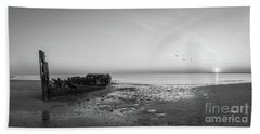 Shipwreck Sunset Panorama Bw Hand Towel