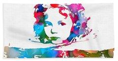 Shirley Temple Watercolor Paint Splatter Hand Towel by Dan Sproul