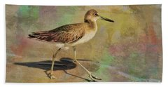 Hand Towel featuring the painting Shore Bird Beauty by Deborah Benoit