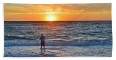 Shore Fishing At Sunrise   Hand Towel
