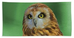 Short Eared Owl On Green Hand Towel by Dan Sproul