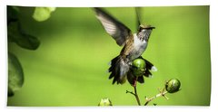 Short Field Landing - Hummingbird Bath Towel by Barry Jones