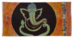 Hand Towel featuring the painting Shri Ganeshay Namah by Sonali Gangane