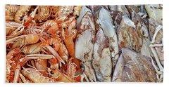 Shrimp And Squid - Port Santo Stefano, Italy Bath Towel