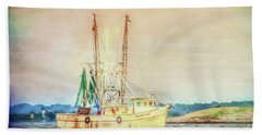 Hand Towel featuring the photograph Shrimp Boat - The Brande Ray by Kerri Farley