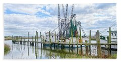 Shrimp Boats Of St. Helena Island Hand Towel
