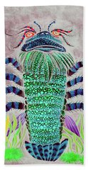 Hand Towel featuring the painting Shrimper Invert by Adria Trail