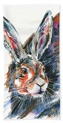 Hand Towel featuring the painting Shy Hare by Zaira Dzhaubaeva