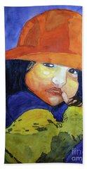 Bath Towel featuring the painting Shy Senorita by Sandy McIntire