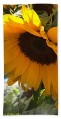 Shy Sunflower Bath Towel by Nance Larson