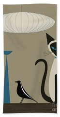 Siamese Cat With Eames House Bird Hand Towel