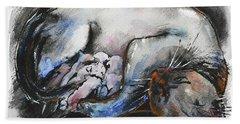 Hand Towel featuring the painting Siamese Cat With Kittens by Zaira Dzhaubaeva