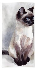 Siamese Kitten Portrait Hand Towel