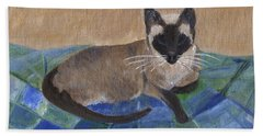Bath Towel featuring the painting Siamese Nap by Jamie Frier